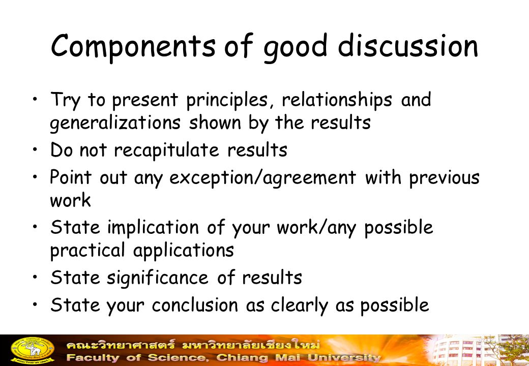 Components of good discussion