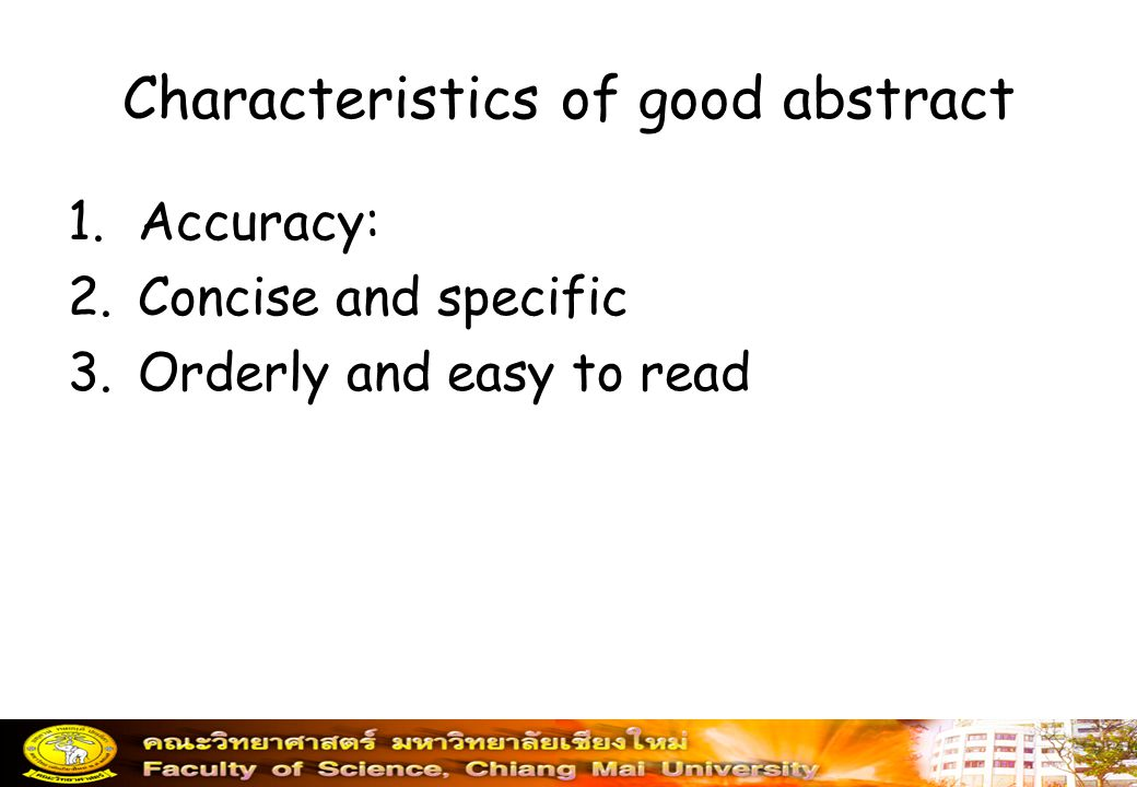 Characteristics of good abstract
