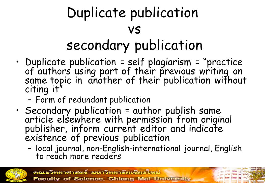 Duplicate publication vs secondary publication