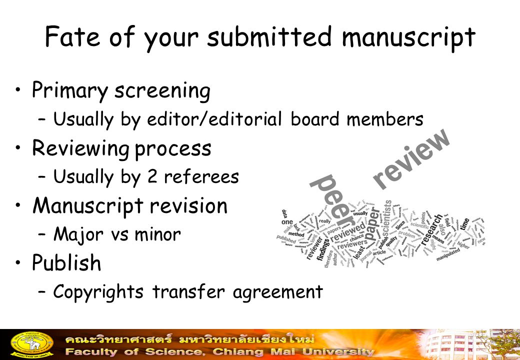 Fate of your submitted manuscript
