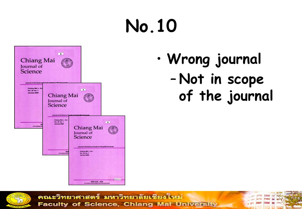 No.10 Wrong journal Not in scope of the journal