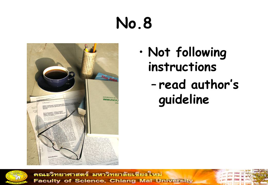 No.8 Not following instructions read author's guideline