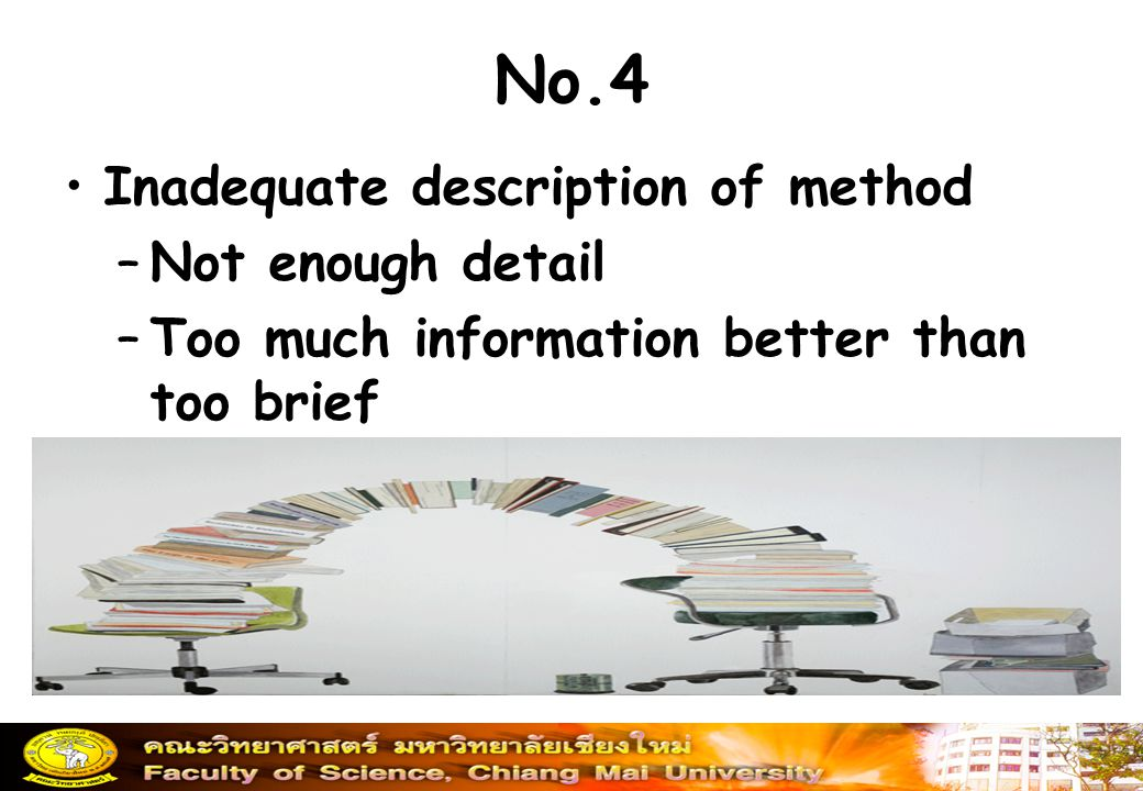 No.4 Inadequate description of method Not enough detail