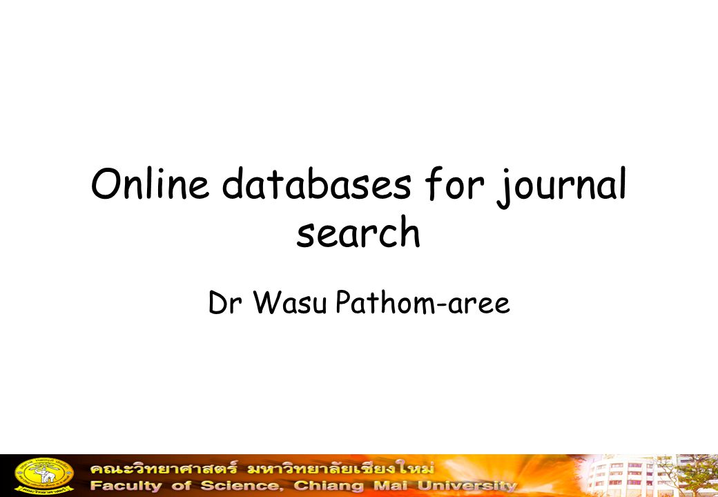 Online databases for journal search