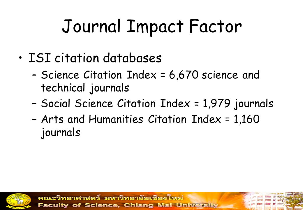 Journal Impact Factor ISI citation databases