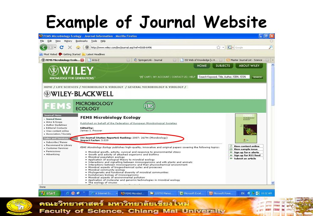 Example of Journal Website