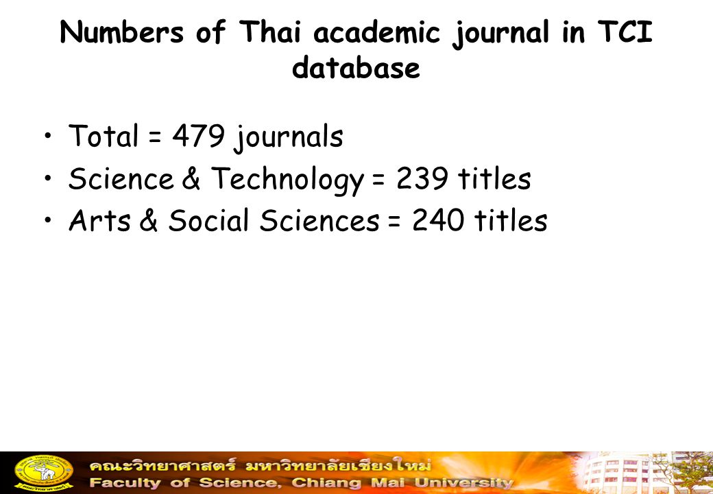 Numbers of Thai academic journal in TCI database