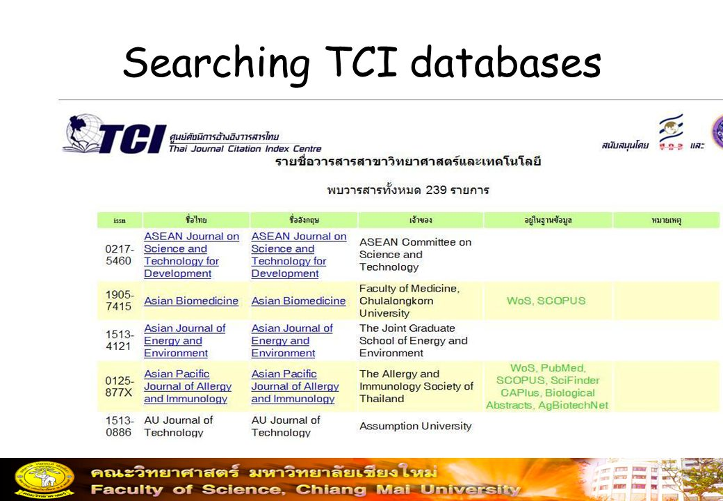 Searching TCI databases
