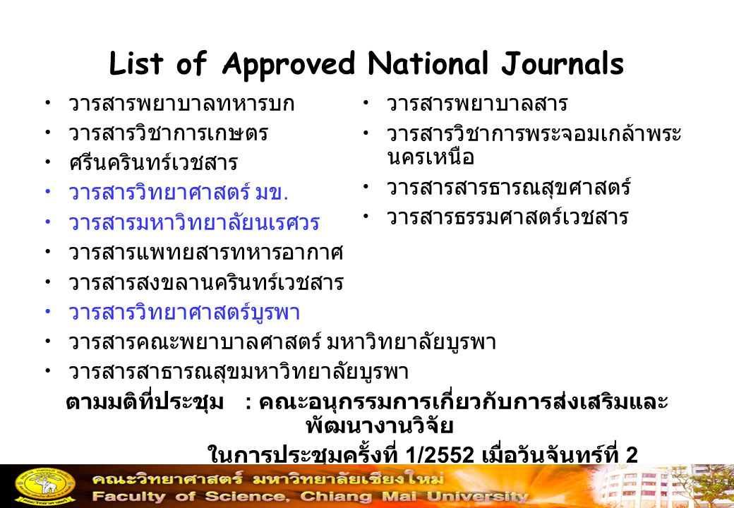 List of Approved National Journals