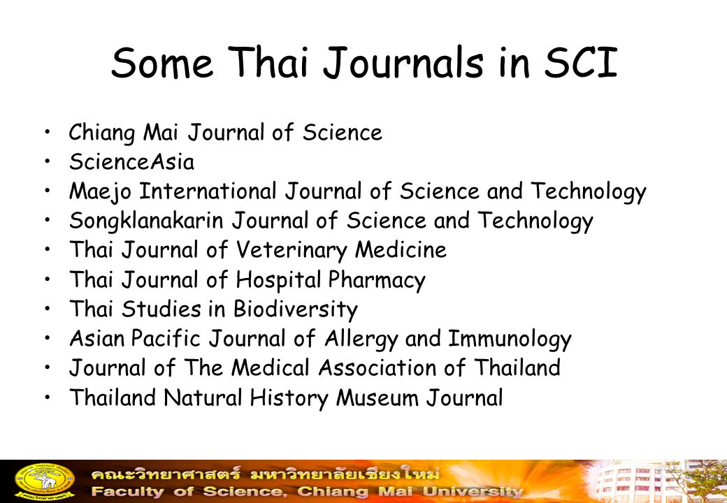 Some Thai Journals in SCI
