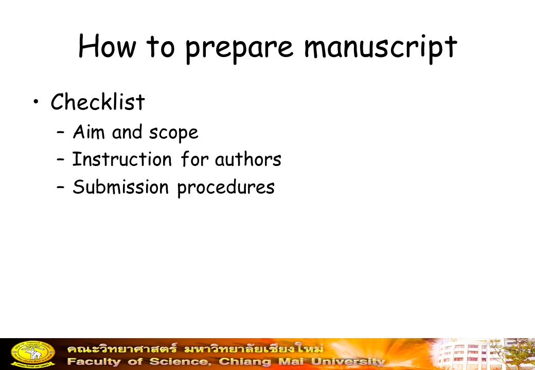 How to prepare manuscript