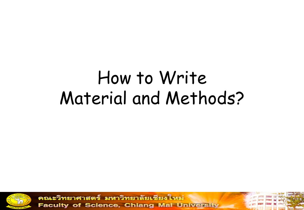 How to Write Material and Methods