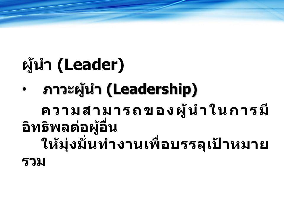 ผู้นำ (Leader) ภาวะผู้นำ (Leadership)