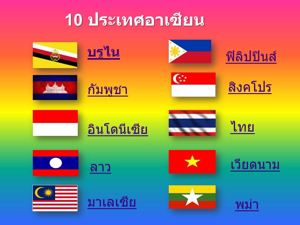 10 ประเทศอาเซียน บรูไน ฟิลิปปินส์ สิงคโปร กัมพูชา ไทย อินโดนีเซีย