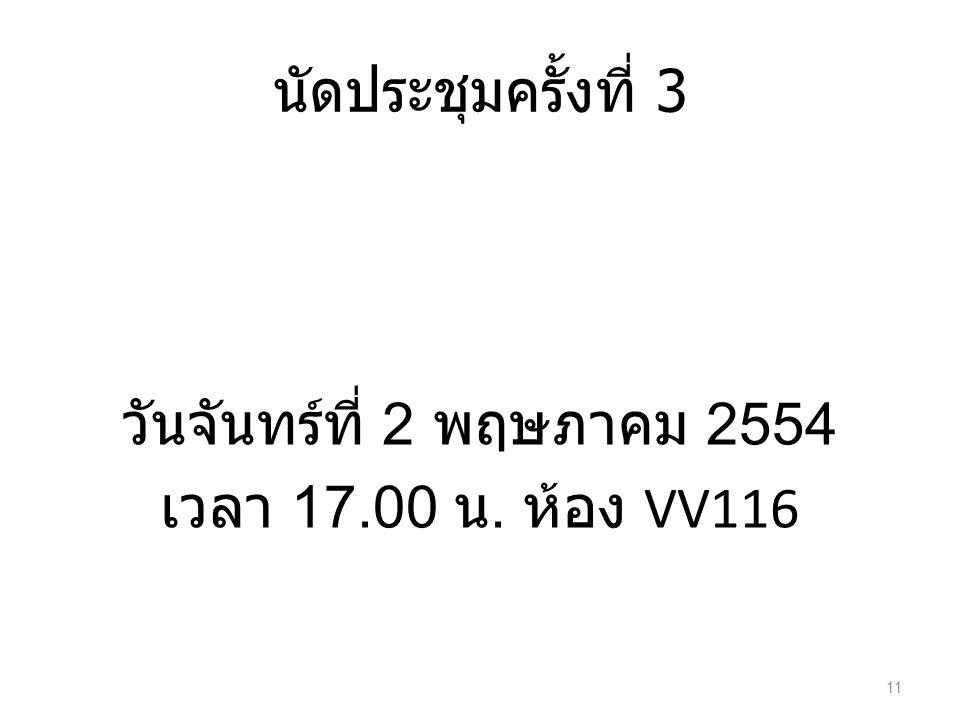 วันจันทร์ที่ 2 พฤษภาคม 2554 เวลา 17.00 น. ห้อง VV116