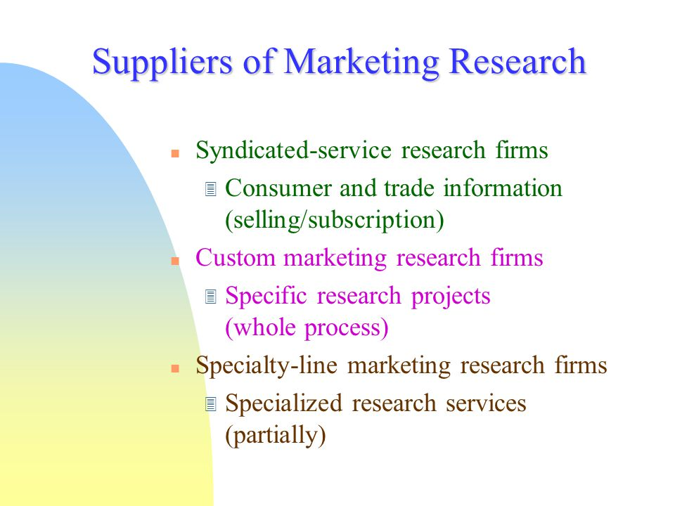 Suppliers of Marketing Research