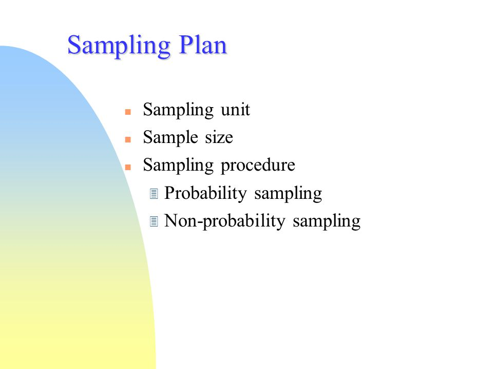 Sampling Plan Sampling unit Sample size Sampling procedure