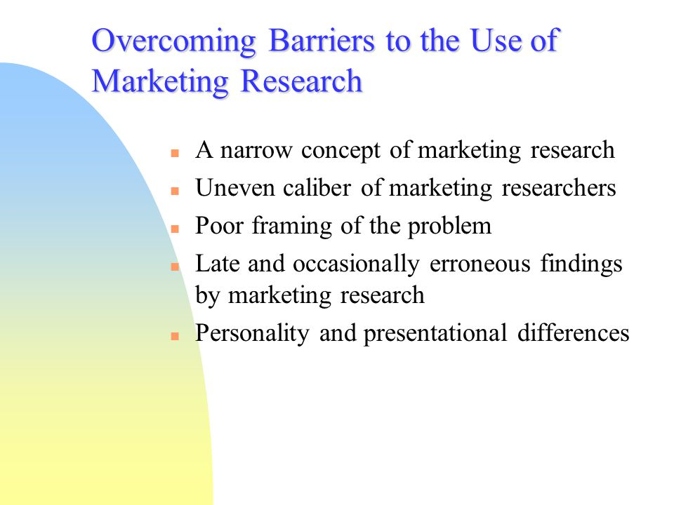 Overcoming Barriers to the Use of Marketing Research