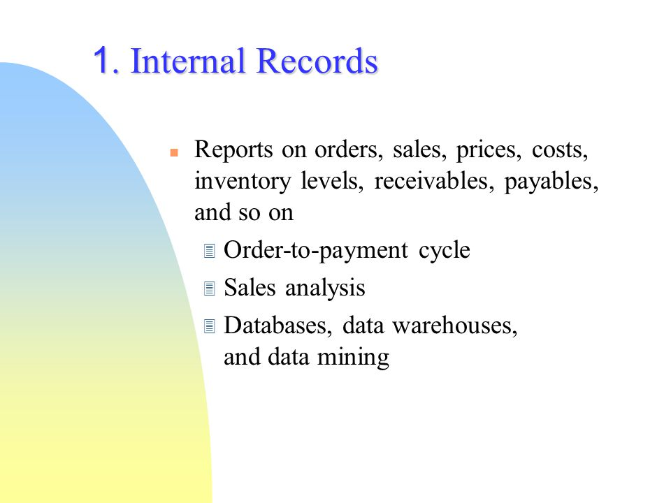 4/9/2017 1. Internal Records. Reports on orders, sales, prices, costs, inventory levels, receivables, payables, and so on.