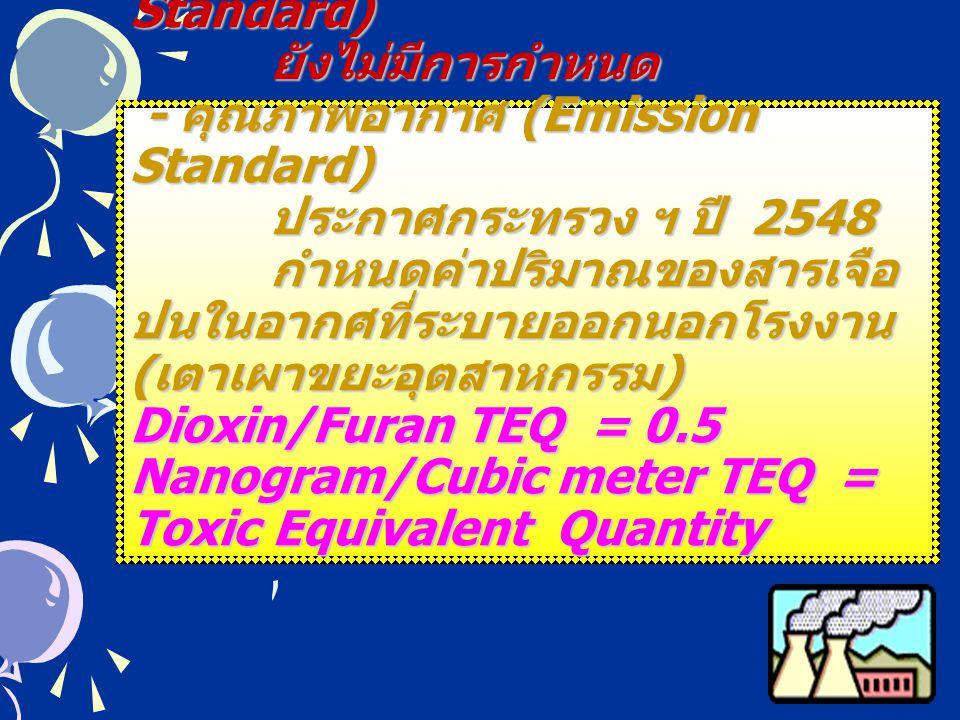 มาตรฐานน้ำทิ้ง (Effluent Standard) ยังไม่มีการกำหนด - คุณภาพอากาศ (Emission Standard) ประกาศกระทรวง ฯ ปี 2548 กำหนดค่าปริมาณของสารเจือปนในอากศที่ระบายออกนอกโรงงาน (เตาเผาขยะอุตสาหกรรม) Dioxin/Furan TEQ = 0.5 Nanogram/Cubic meter TEQ = Toxic Equivalent Quantity