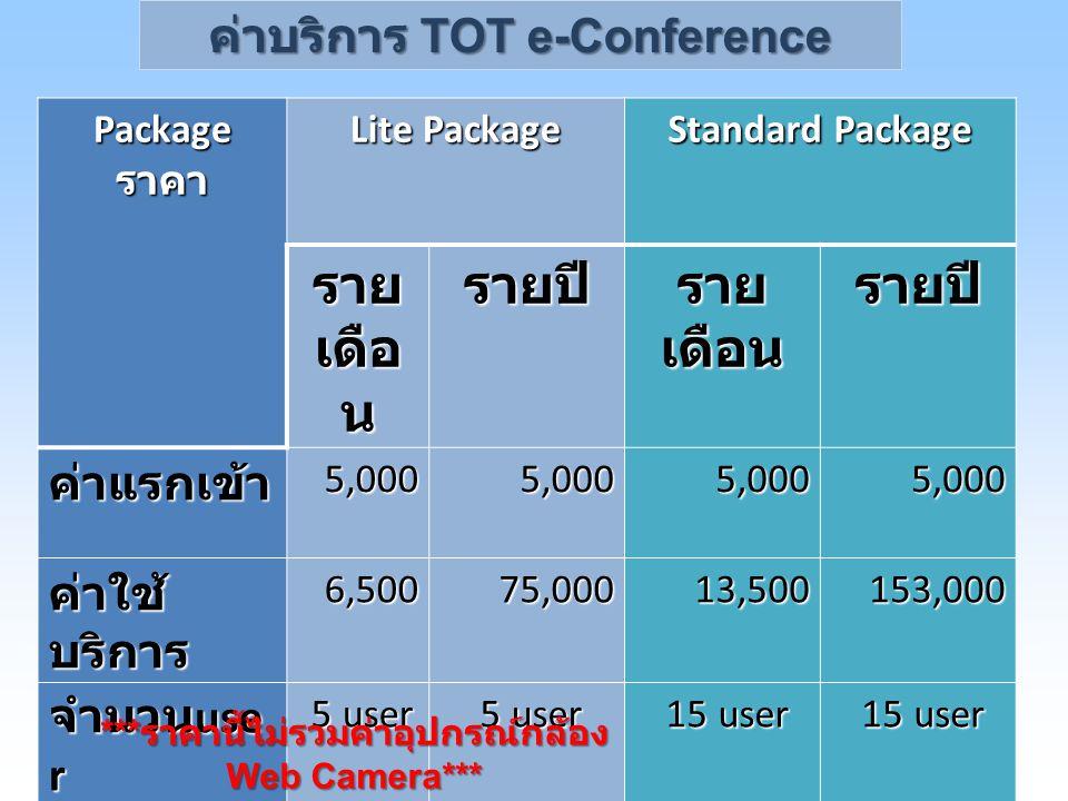 รายเดือน รายปี ค่าบริการ TOT e-Conference ค่าแรกเข้า ค่าใช้บริการ