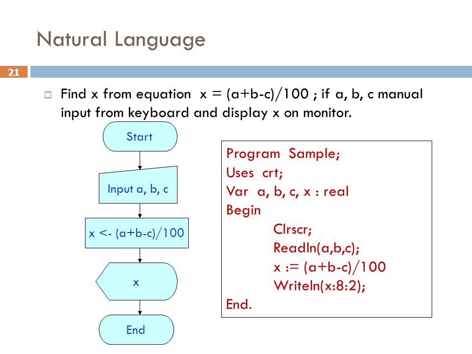Natural Language Find x from equation x = (a+b-c)/100 ; if a, b, c manual input from keyboard and display x on monitor.