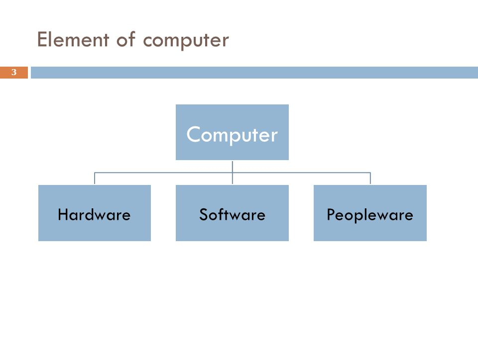 Element of computer Computer Hardware Software Peopleware