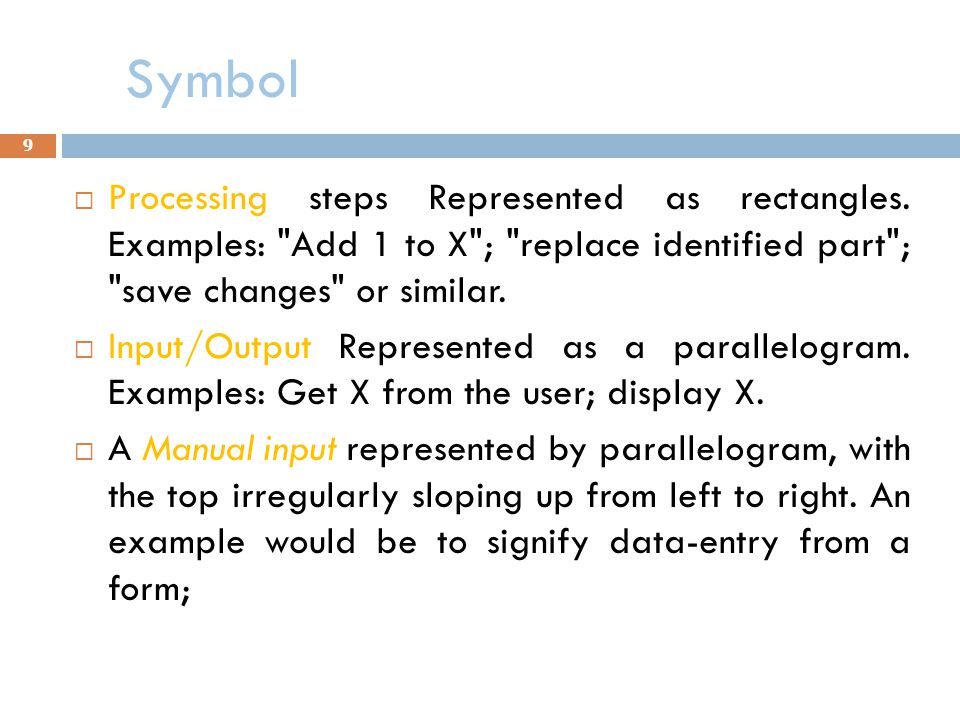 Symbol Processing steps Represented as rectangles. Examples: Add 1 to X ; replace identified part ; save changes or similar.