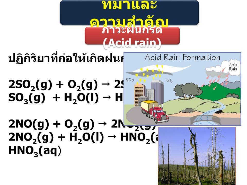 ที่มาและความสำคัญ ภาวะฝนกรด (Acid rain) ปฏิกิริยาที่ก่อให้เกิดฝนกรด