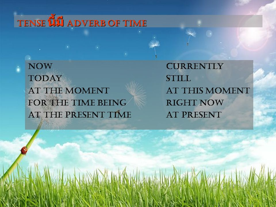 Tense นี้มี Adverb of time