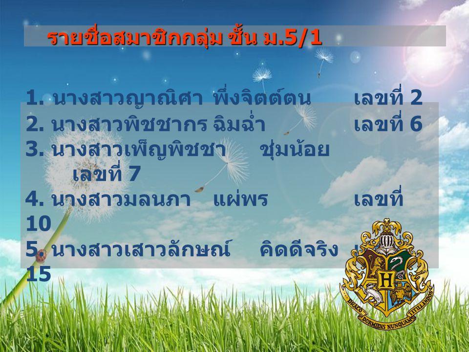 รายชื่อสมาชิกกลุ่ม ชั้น ม.5/1