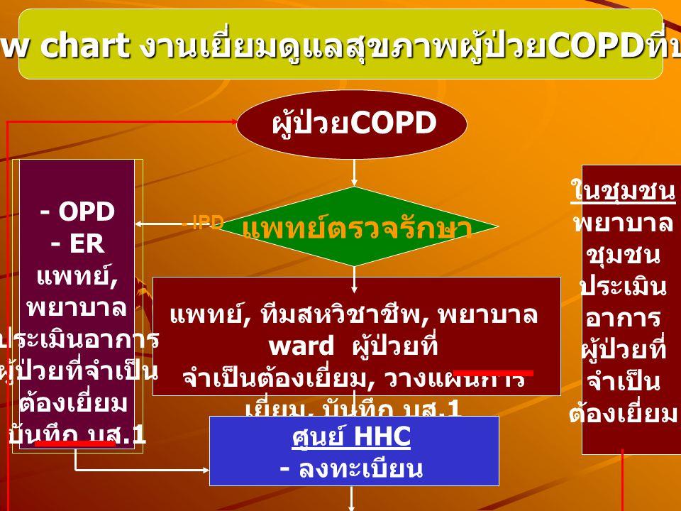 Flow chart งานเยี่ยมดูแลสุขภาพผู้ป่วยCOPDที่บ้าน