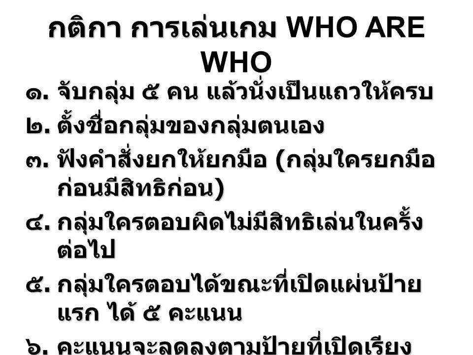 กติกา การเล่นเกม WHO ARE WHO