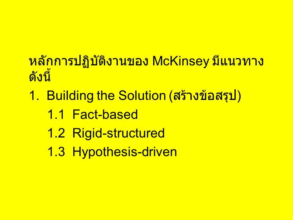 หลักการปฏิบัติงานของ McKinsey มีแนวทางดังนี้