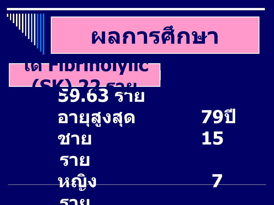 ได้ Fibrinolylic (SK) 22 ราย
