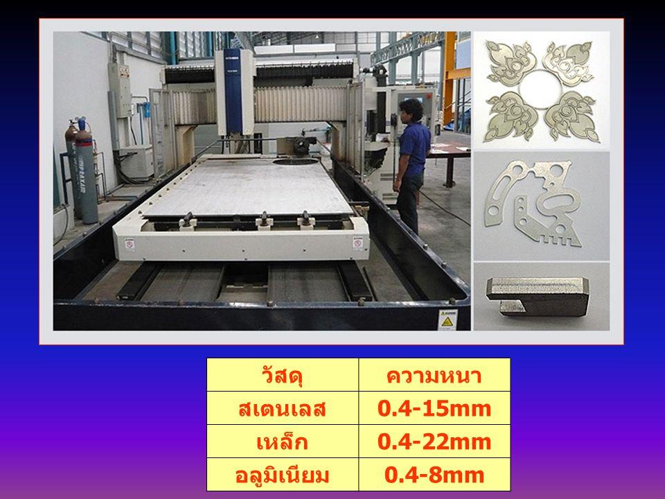 วัสดุ ความหนา สเตนเลส 0.4-15mm เหล็ก 0.4-22mm อลูมิเนียม 0.4-8mm