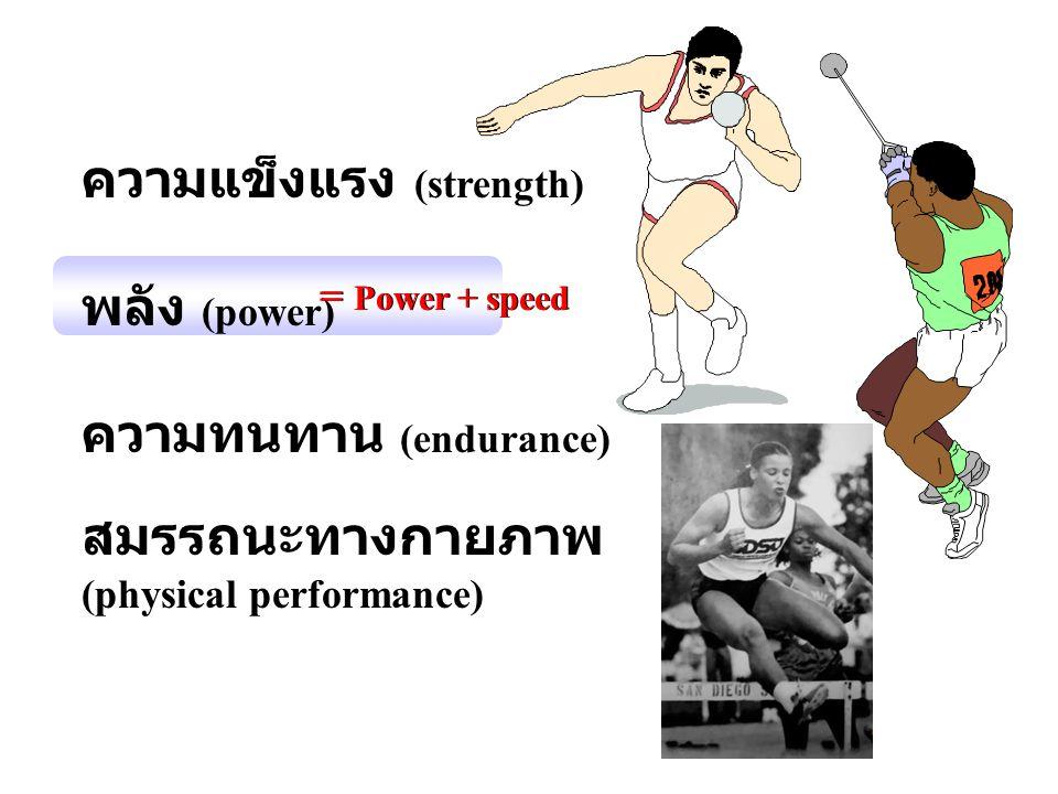 ความแข็งแรง (strength) พลัง (power) ความทนทาน (endurance)