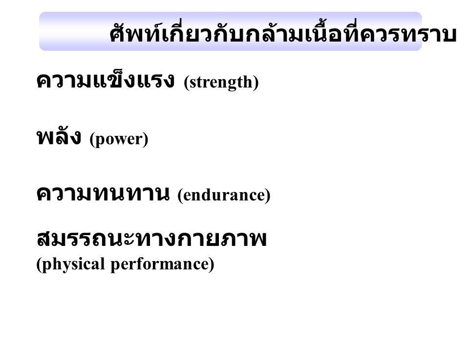 ศัพท์เกี่ยวกับกล้ามเนื้อที่ควรทราบ ความแข็งแรง (strength) พลัง (power)