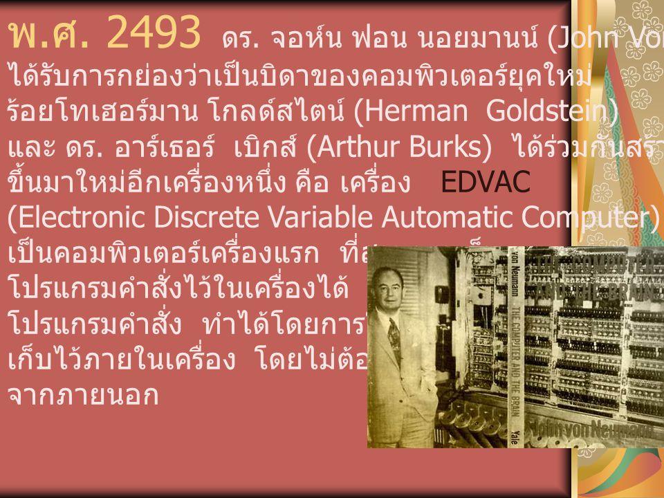 พ.ศ. 2493 ดร. จอห์น ฟอน นอยมานน์ (John Von Neumann)