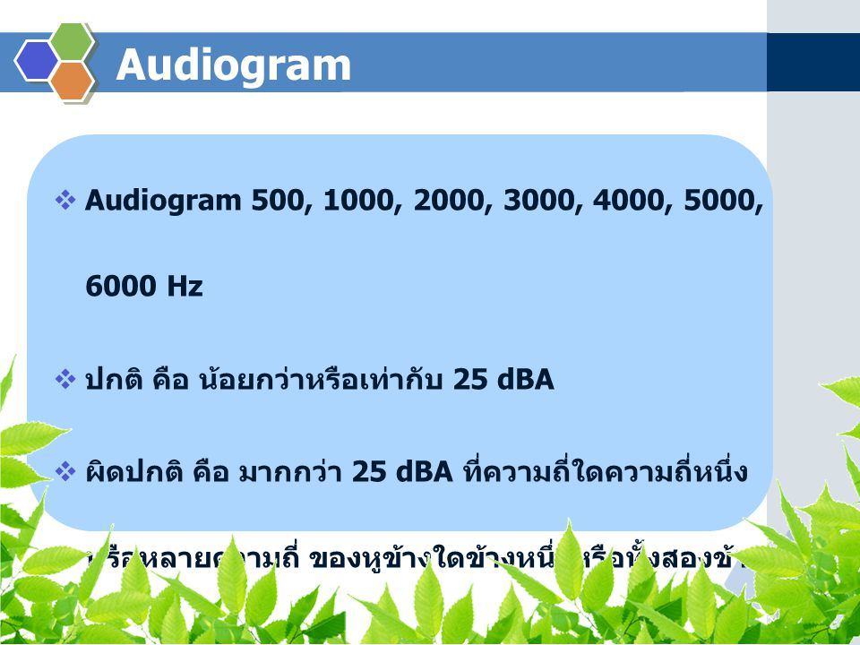 Audiogram Audiogram 500, 1000, 2000, 3000, 4000, 5000, 6000 Hz
