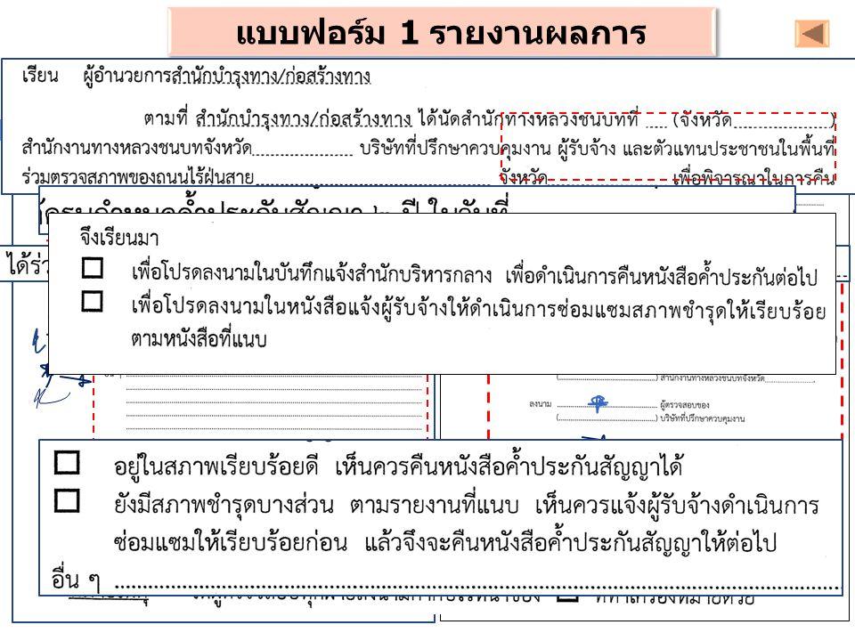 แบบฟอร์ม 1 รายงานผลการตรวจสอบ (สกท. / สบร.)