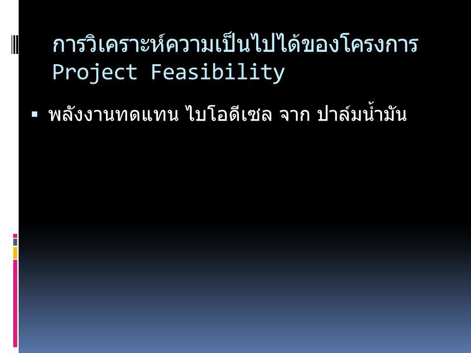 การวิเคราะห์ความเป็นไปได้ของโครงการ Project Feasibility