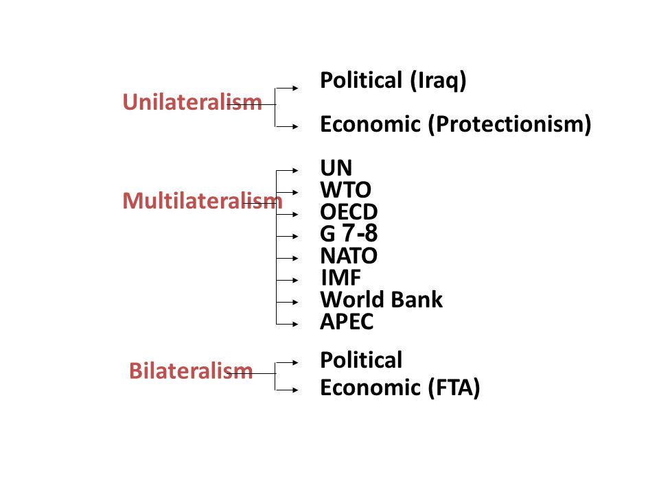 Political (Iraq) Unilateralism. Economic (Protectionism) UN. WTO. Multilateralism. OECD. G 7-8.