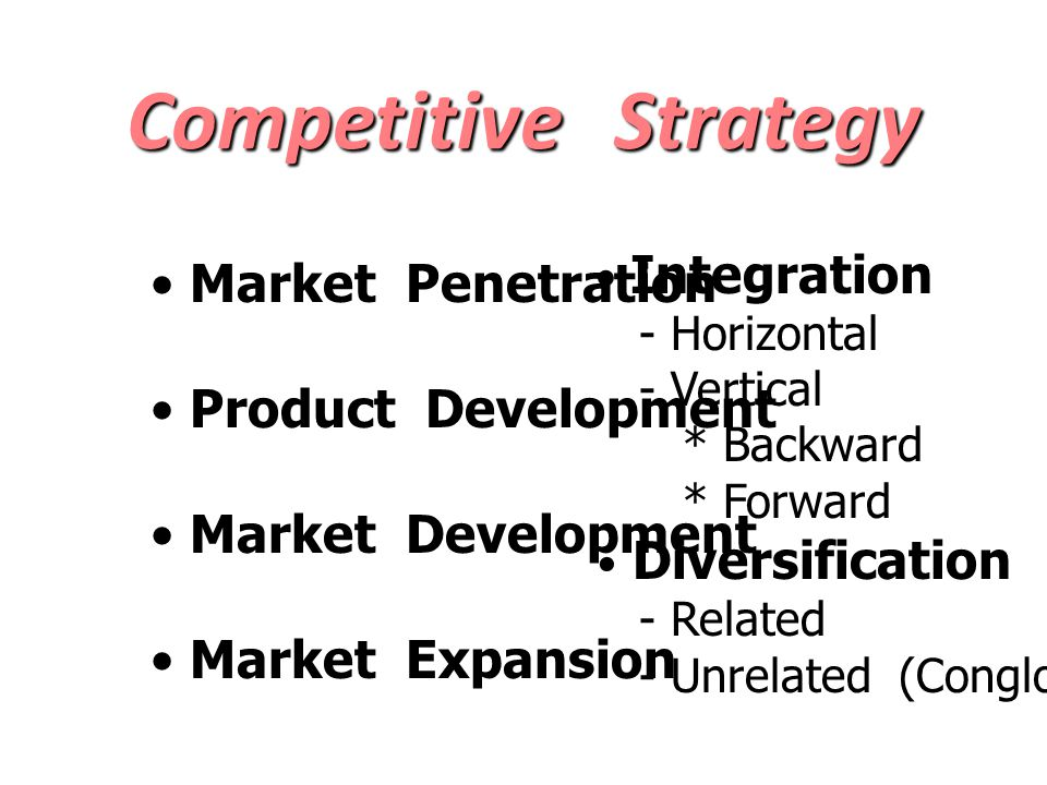 Competitive Strategy Market Penetration Product Development