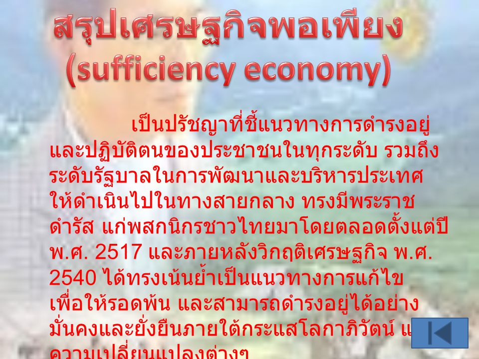 สรุปเศรษฐกิจพอเพียง (sufficiency economy)