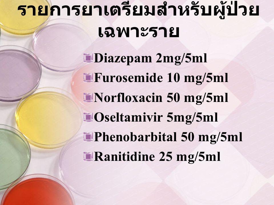 รายการยาเตรียมสำหรับผู้ป่วยเฉพาะราย