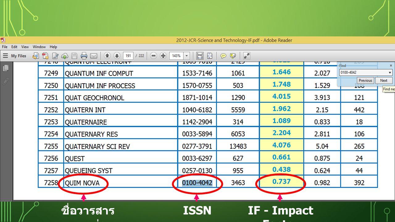 ชื่อวารสารแบบย่อ ISSN IF - Impact Factor