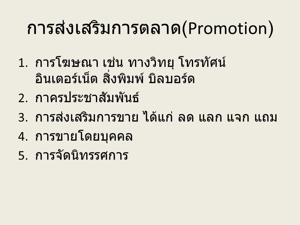 การส่งเสริมการตลาด(Promotion)