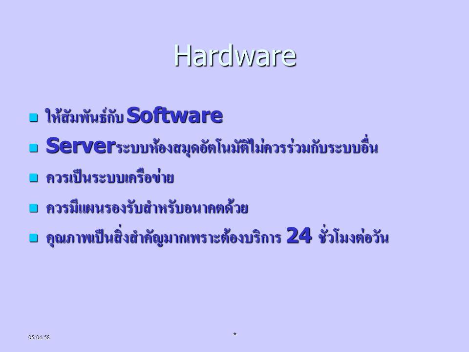 Hardware ให้สัมพันธ์กับ Software