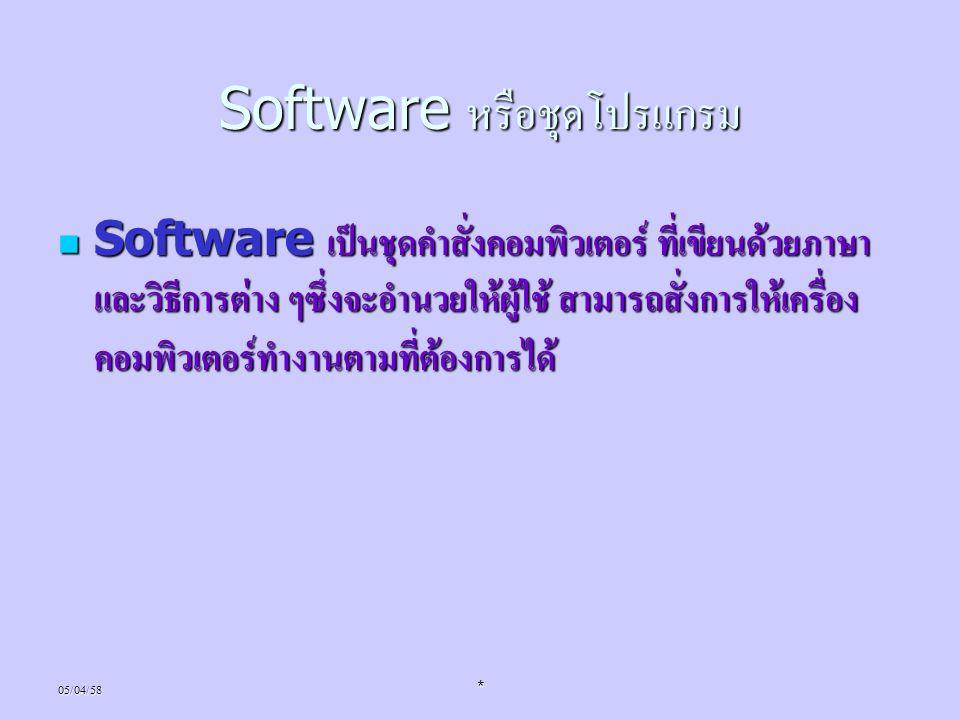 Software หรือชุดโปรแกรม